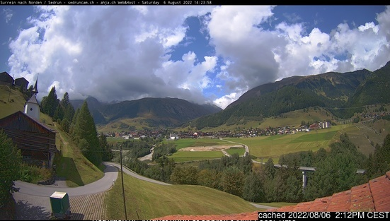 Sedrun Oberalp webcam at lunchtime today