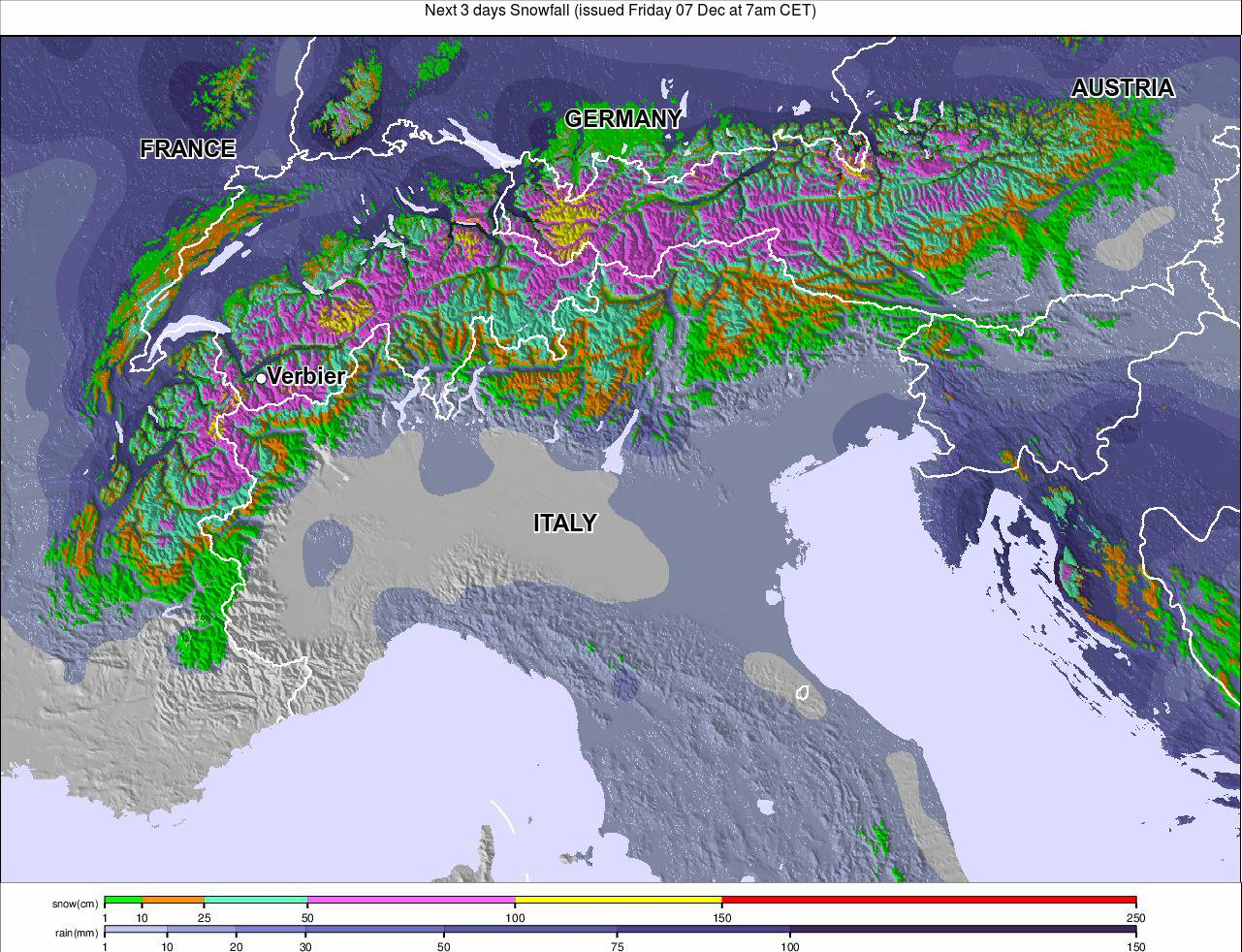 next 3 days alps snow forecast